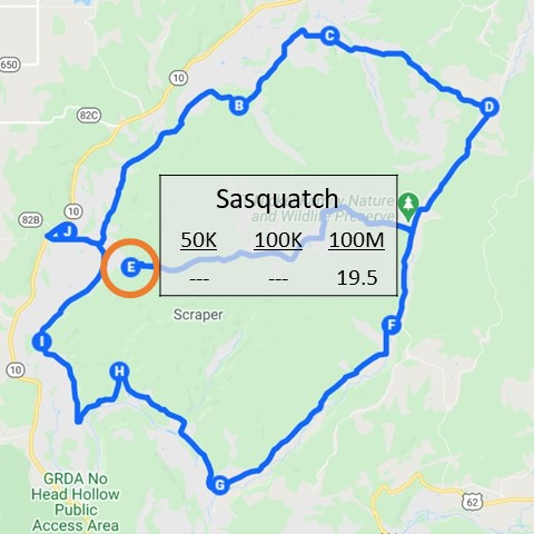 Milage chart for Sasquatch